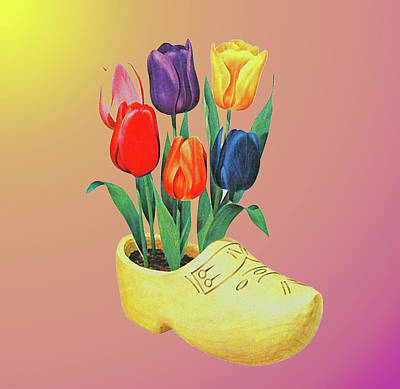 Drawing - Dutch Shoe With Tulips by Allen Beilschmidt