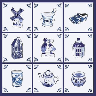 Amsterdam Digital Art - Dutch Tiles by Dutch Souvenirs