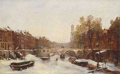 Country In Winter Painting - Dutch Town In Winter by Pierre Tetar van Elven