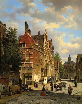 Netherlands Painting - Dutch Town Scene With Figures by Mountain Dreams
