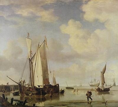 Harbor Painting - Dutch Vessels Inshore And Men Bathing by Willem van de Velde