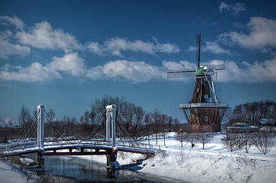 Photograph - Dutch Windmill And Supension Bridge During Winter  by Randall Nyhof