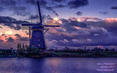 Low-country Artwork Painting - Dutch Windmill L A by Gert J Rheeders