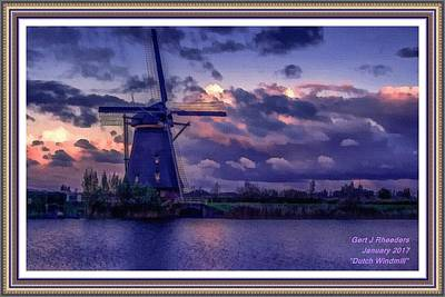 Low-country Artwork Painting - Dutch Windmill L A With Alt. Decorative Ornate Printed Frame. by Gert J Rheeders