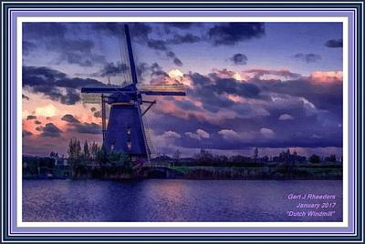 Low-country Artwork Painting - Dutch Windmill L A With Decorative Ornate Printed Frame. by Gert J Rheeders