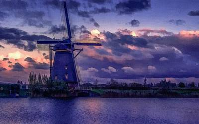 Low-country Artwork Painting - Dutch Windmill L B by Gert J Rheeders