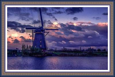 Low-country Artwork Painting - Dutch Windmill L B With Alt. Decorative Ornate Printed Frame. by Gert J Rheeders
