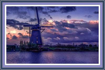 Low-country Artwork Painting - Dutch Windmill L B With Decorative Ornate Printed Frame. by Gert J Rheeders