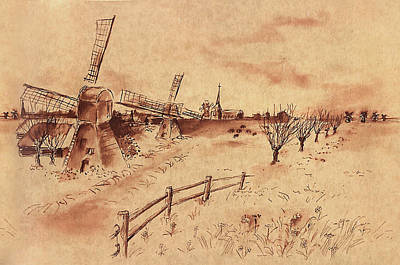 Fence Drawing - Dutch Windmills by Ernestine Grindal