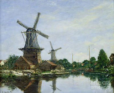 Reflecting Tree Painting - Dutch Windmills by Eugene Louis Boudin
