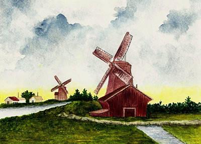 Dutch Windmills Art Print by Michael Vigliotti
