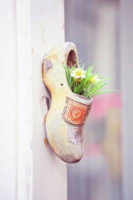 Photograph - Dutch Wooden Shoe Floral Decor by Jenny Rainbow