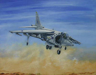 Harrier Painting - Duty Done And Safely Home by Richard Savage