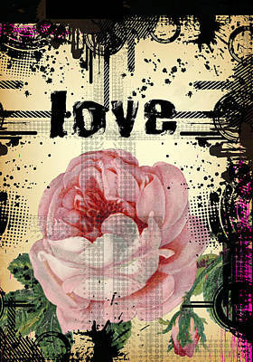 Digital Art - Duvet Grunge Love by Robert G Kernodle