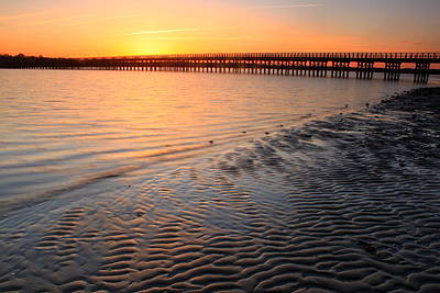 Ocean Sunset Photograph - Duxbury Beach Powder Point Bridge Sunset by John Burk