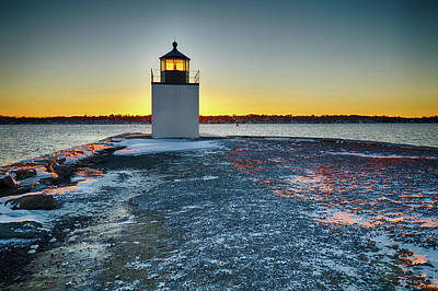 Photograph - Dawn Breaks At Derby Wharf Lighthouse by Jeff Folger