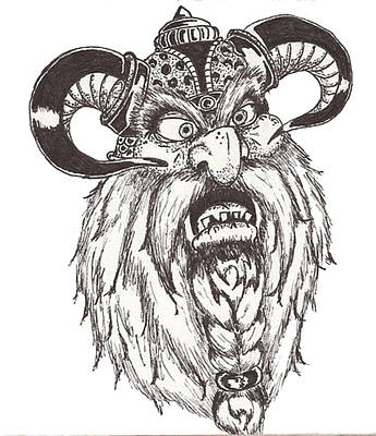 Drawing - Dwarf Berserker by Law Stinson
