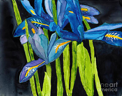 Painting - Dwarf Iris Watercolor On Yupo by Conni Schaftenaar