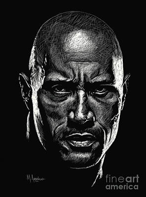 Drawing - Dwayne Johnson by Maria Arango