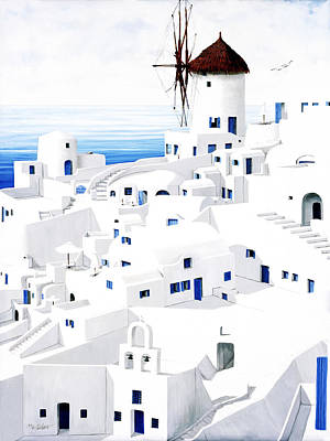 Church Painting - Dwellings, Santorini - Prints From Original Oil Painting by Mary Grden Fine Art Oil Painter Baywood Gallery
