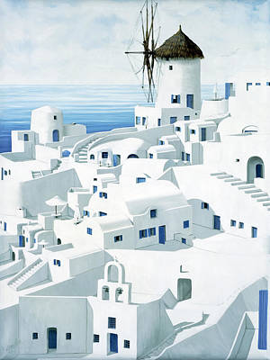 Greek Vase Painting - Dwellings, Santorini - Prints From Original Oil Painting by Mary Grden Fine Art Oil Painter Baywood Gallery