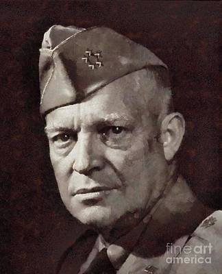 President Painting - Dwight Eisenhower, President United States And General By Sarah Kirk by Sarah Kirk