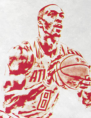 Hawk Mixed Media - Dwight Howard Atlanta Hawks Pixel Art by Joe Hamilton
