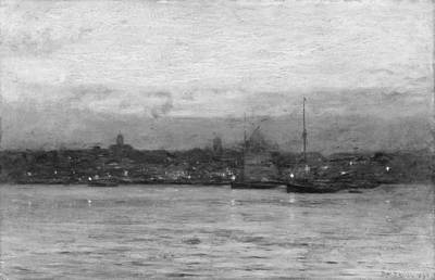 Bedford Digital Art - Dwight William Tryon    Evening New Bedford Harbor by Anne Pool