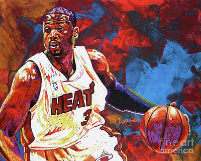 Sports Star Painting - Dwyane Wade 2 by Maria Arango