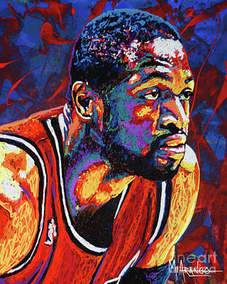 Sports Star Painting - Dwyane Wade 3 by Maria Arango
