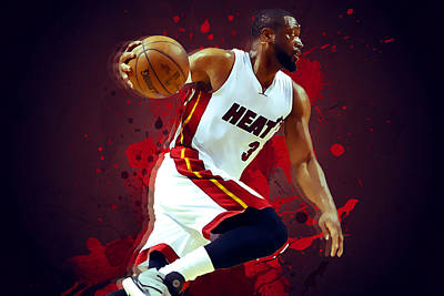 Lebron James Digital Art - Dwyane Wade by Semih Yurdabak