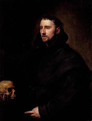 Digital Art - Dyck Anthony Van Portrait Of A Monk Of The Benedictine Order Holding A Skull by Sir Antony van Dyck