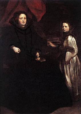 Digital Art - Dyck Anthony Van Portrait Of Porzia Imperiale And Her Daughter by Sir Antony van Dyck