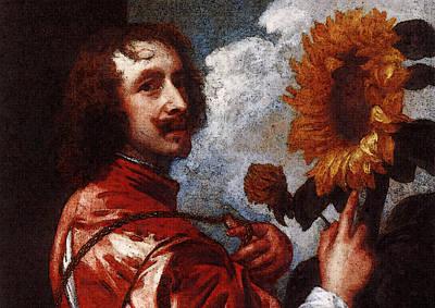 Digital Art - Dyck Anthony Van Self Portrait With A Sunflower by Sir Antony van Dyck
