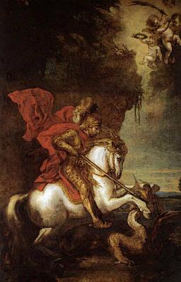 Digital Art - Dyck Anthony Van St George And The Dragon by Sir Antony van Dyck