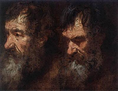 Digital Art - Dyck Anthony Van Studies Of A Mans Head by Sir Antony van Dyck