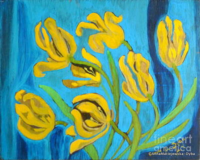 Painting - Dying Tulips by Anna Folkartanna Maciejewska-Dyba