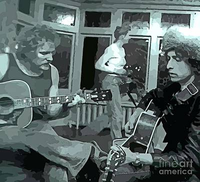 Jamming Digital Art - Dylan And Lightfoot Abstract At House Party by John Malone