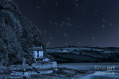 Photograph - Dylan Thomas Boathouse Starry Night by Steve Purnell