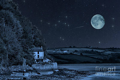Photograph - Dylan Thomas Boathouse Stars And Moon by Steve Purnell