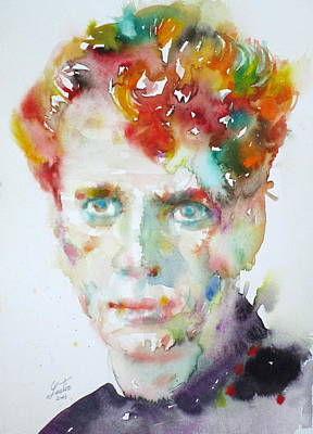 Dylan Thomas - Watercolor Portrait.4 Art Print