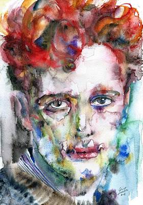 Painting - Dylan Thomas - Watercolor Portrait.5 by Fabrizio Cassetta