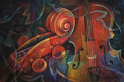 Violin Painting - Dynamic Duo - Cello And Scroll by Susanne Clark