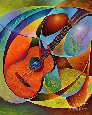Painting - Dynamic Guitars 2 by Ricardo Chavez-Mendez