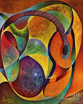 Painting - Dynamic Guitars 3 by Ricardo Chavez-Mendez