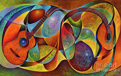 Painting - Dynamic Guitars Diptych by Ricardo Chavez-Mendez