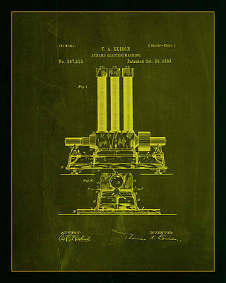 Dynamo Electric Machine Patent Drawing 1a Art Print by Brian Reaves