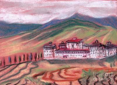 Bhutan Painting - Dzong From A Distance by Duygu Kivanc