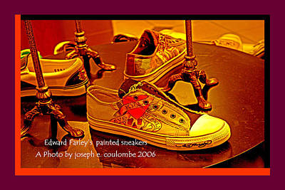 Sneakers Digital Art - E Farley Painted Shoes by Joseph Coulombe