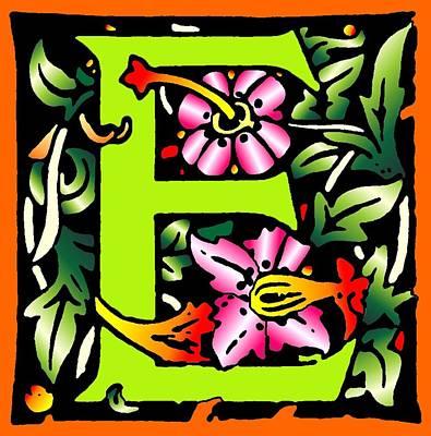 E In Green Art Print by Kathleen Sepulveda